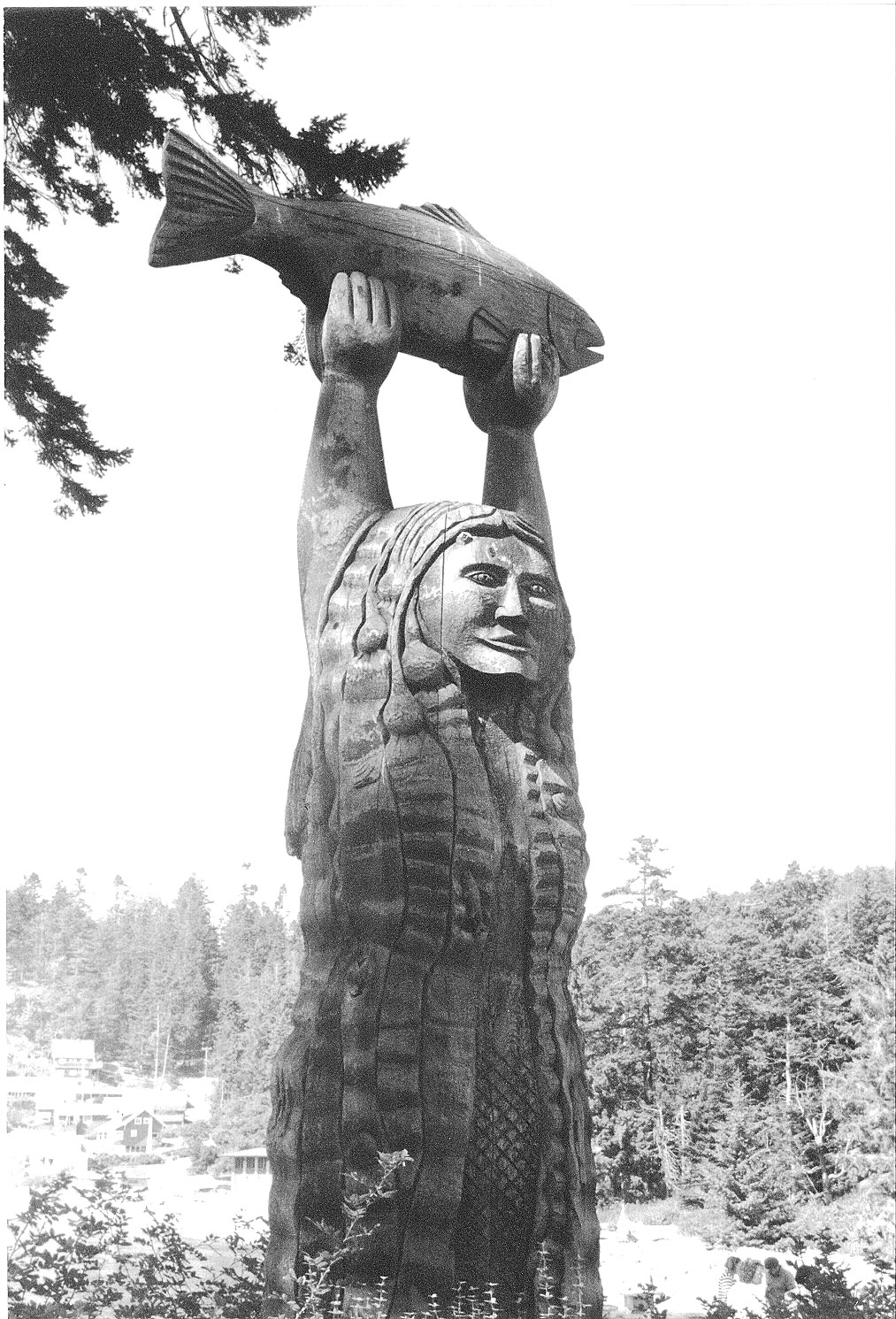 The double-sided story pole of Ko-Kwal-Alwoot, the Maiden of Deception Pass, between Bowman Bay and Sharpe Cove