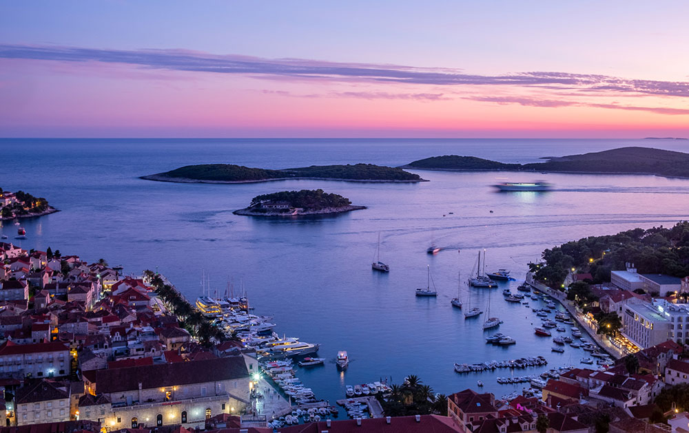 Sunset over Hvar shows how beautiful the Croatian coastline truly is.