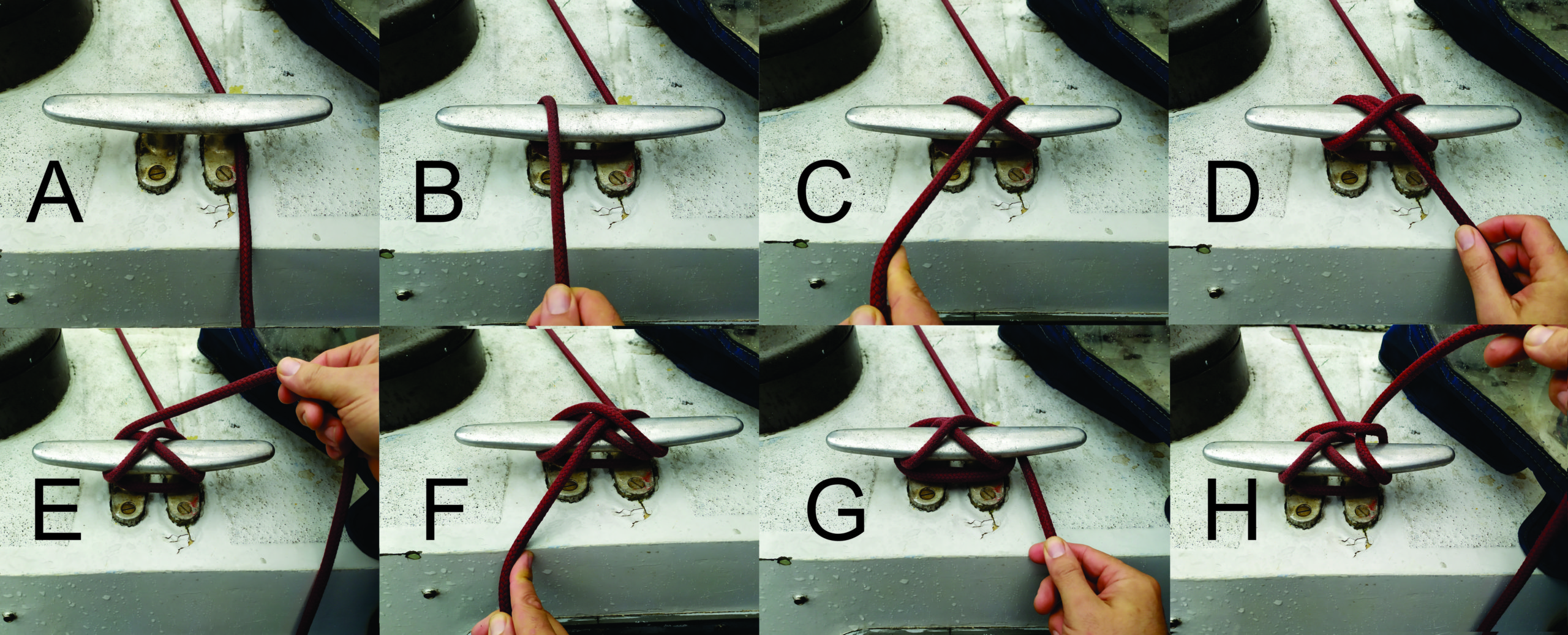 These are the steps to tie a proper cleat hitch knot.