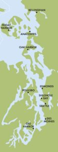 Map of dog friendly destinations in the puget sound.