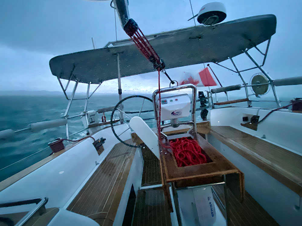 The deck saloon of the Sirius 40 DS was the perfect place to weather a heavy Rosario Strait Squall.
