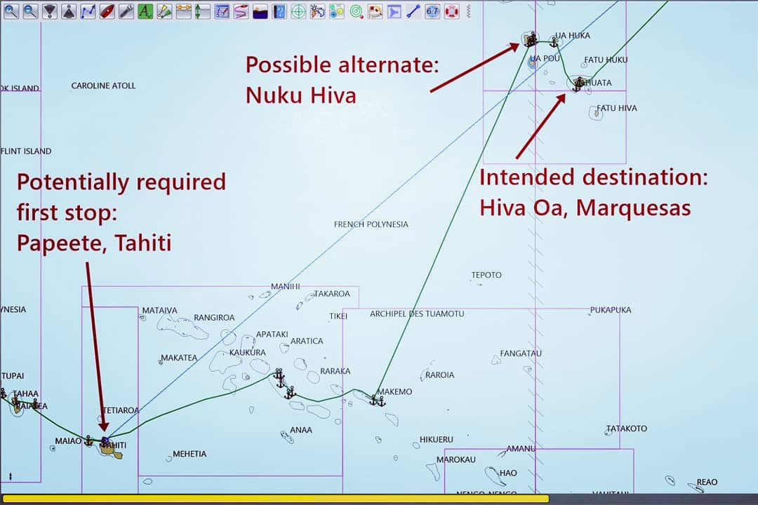 The extended route means navigating through the minefield of Tuamotu atolls