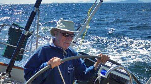 Doug was at the helm in most every situation, as here during Van Isle 360 2015.