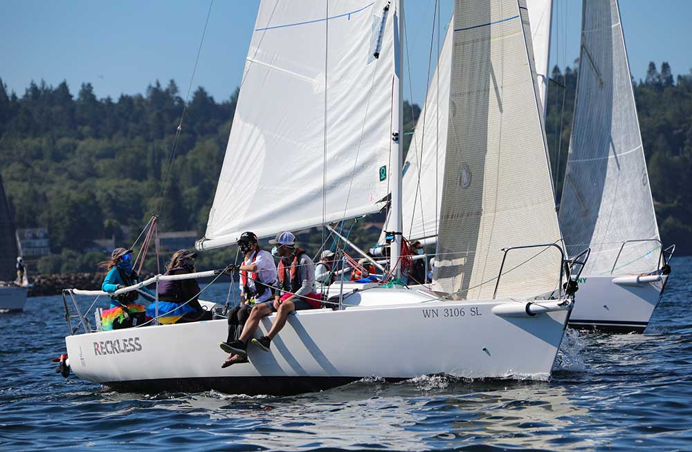The J/80 Reckless sailed clean and fast to a class win. Photo courtesy of Jan Anderson.