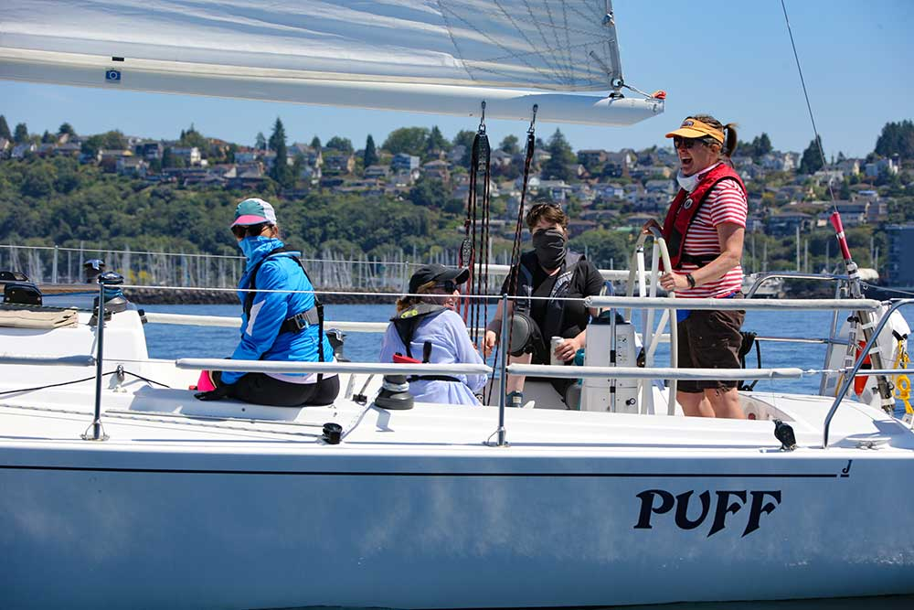 J/105s and J/80s raced in one competitive class, and everybody had fun! Photo courtesy of Jan Anderson.