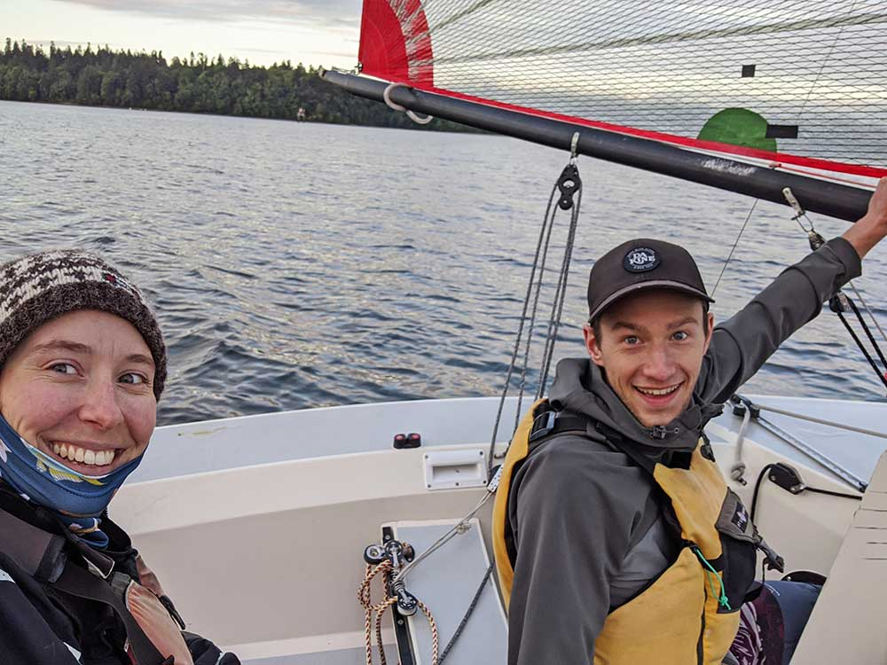 Sarah and Casey Sailing their Tasar in Olympia.