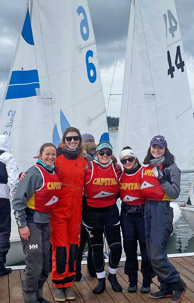 Capital High School seniors and Coach Sarah at the last regatta they were able to sail this year.