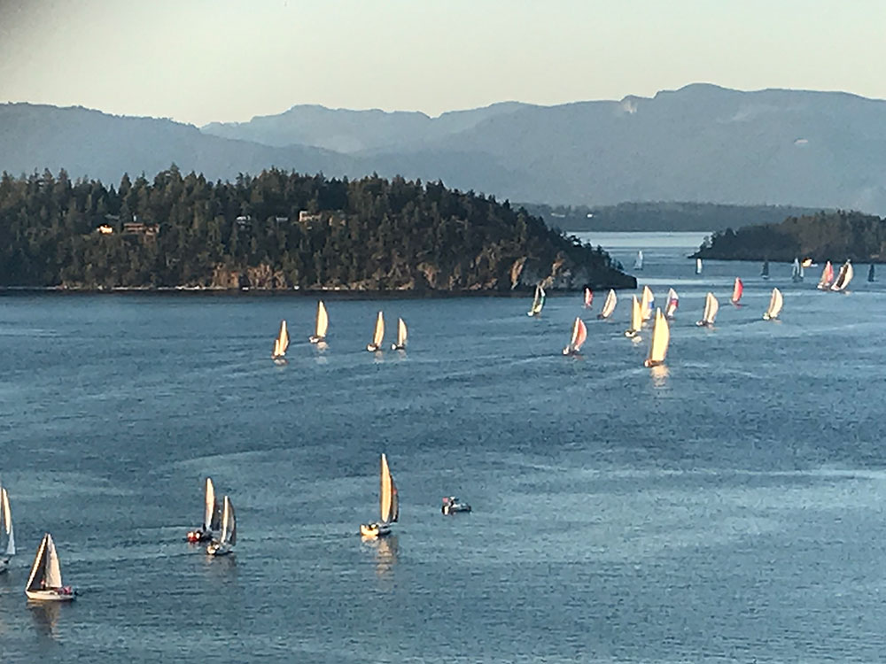 A colorful downwind start out of Anacortes on Friday evening. Photo by Jeff Rodenburger.
