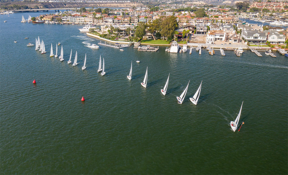 Beautiful, busy, and geographically limited... that was the racing area near Balboa Yacht Club. Photo Courtesy of Tom Walker.