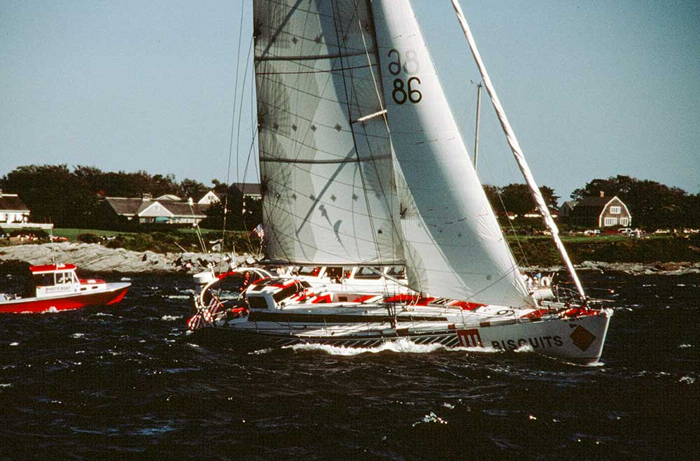 Callahan at the start of the double-handed Transatlantic race in 1986.