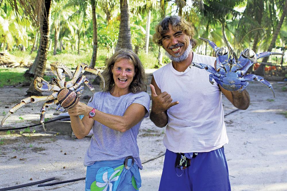 Amanda and Parua, and his pet coconut crabs.